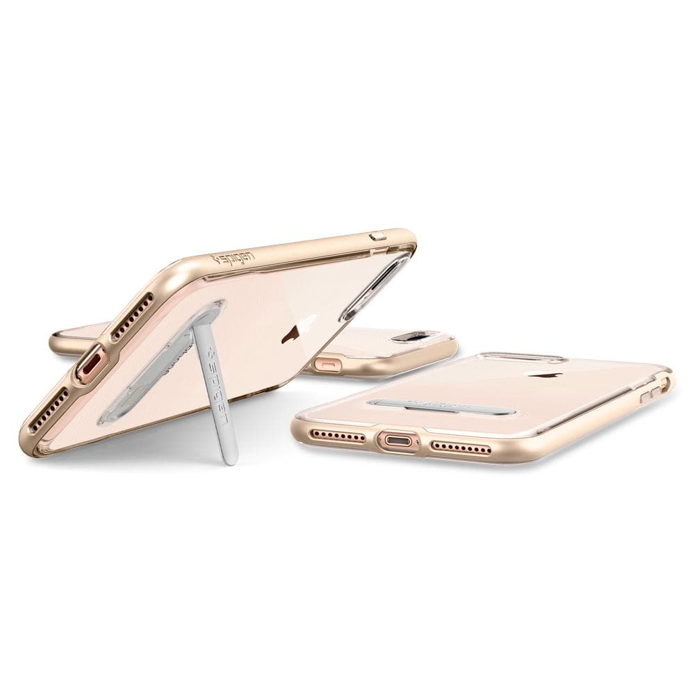 043CSCrystal Hybrid	Champagne Gold	Case	angled backwards showing the back design focusing on the kickstand feature	iPhone 8 Plus	device.