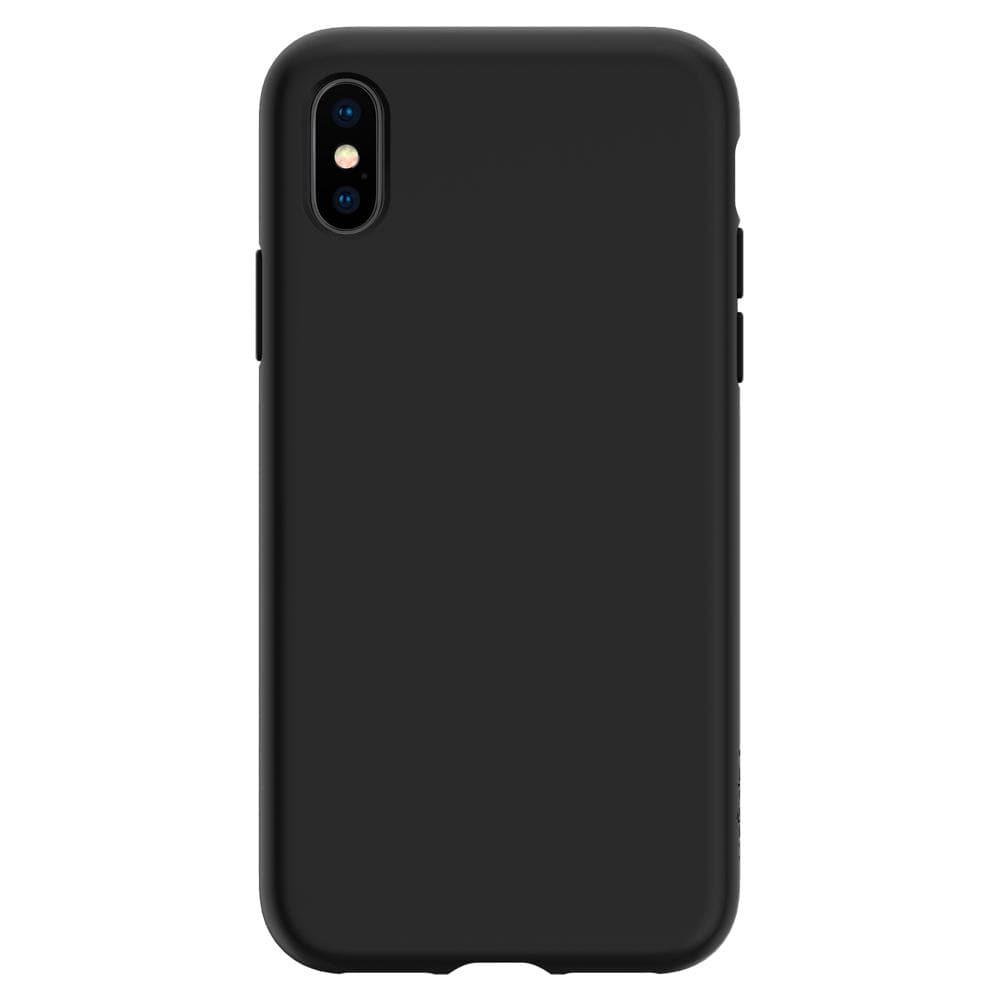 Liquid Crystal	Matte Black	Case	facing backwards showing the back design with the camera cutout on the	iPhone XS/X	device.