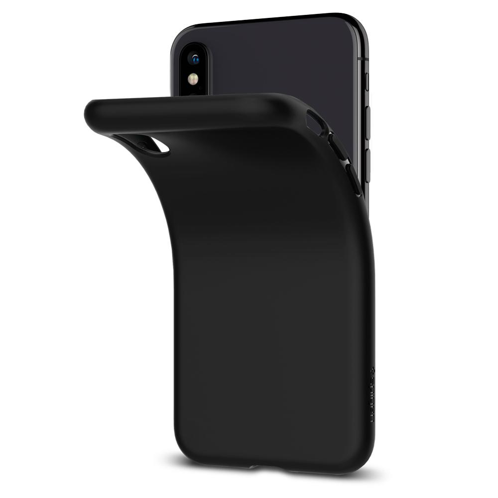 Liquid Crystal	Matte Black	Case	attached and bending away from the	iPhone XS/X	device.
