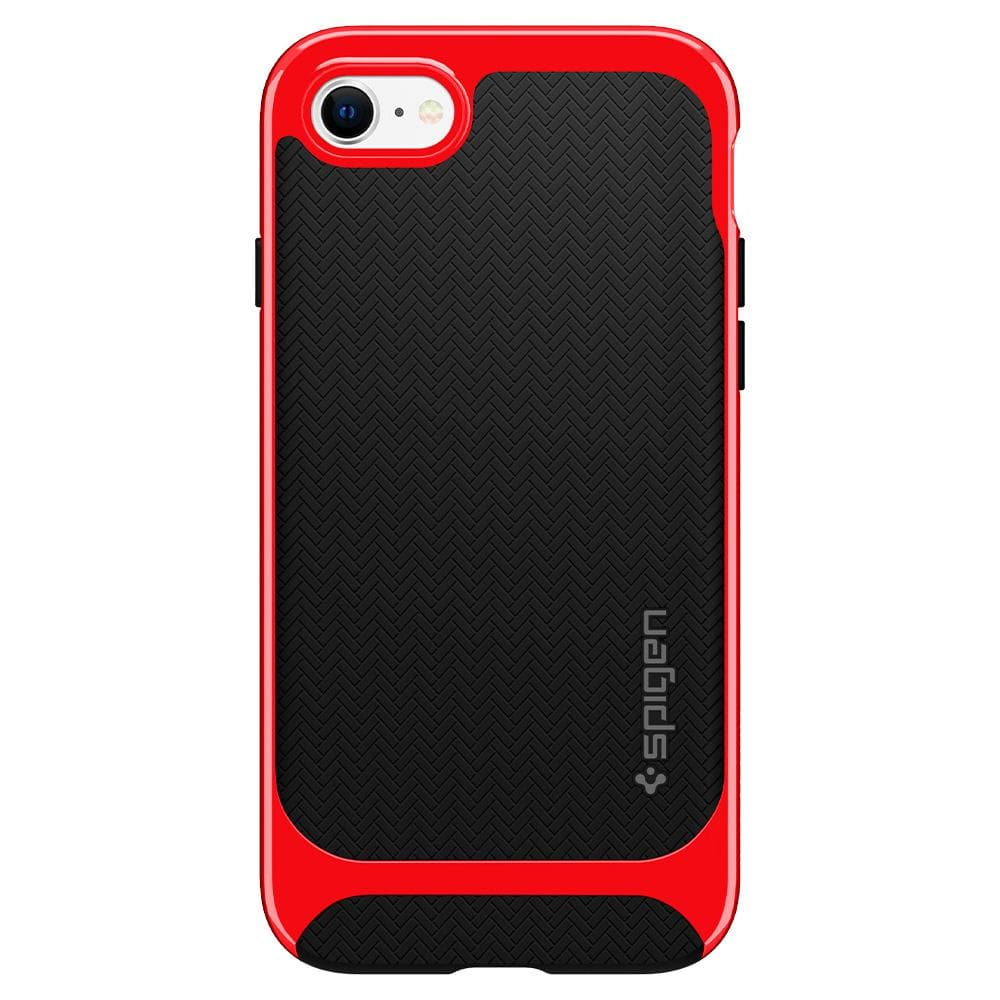 iPhone SE (2020) Case Neo Hybrid Herringbone in dante red showing the back