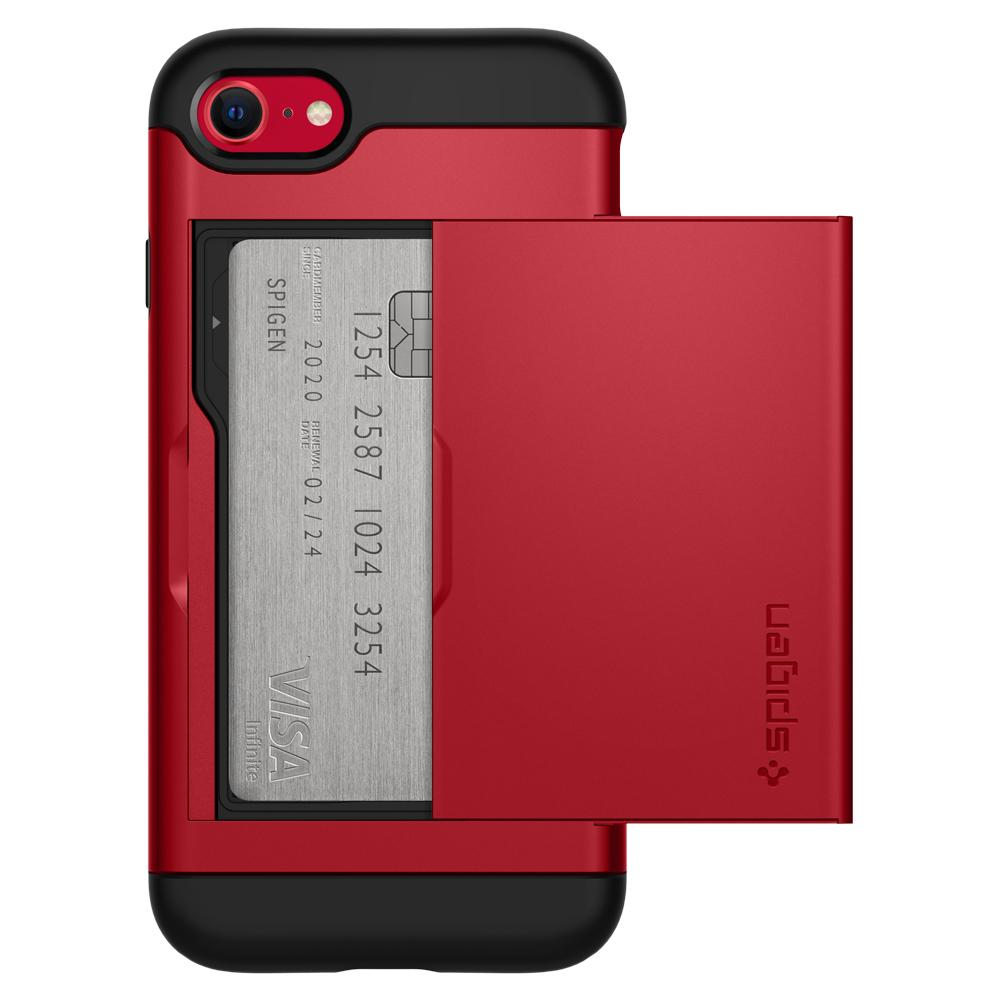 iPhone SE (2020) Case Slim Armor CS in red showing the back with card slot open and credit card inside