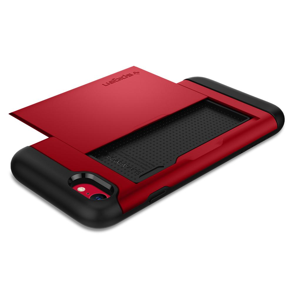 iPhone SE (2020) Case Slim Armor CS in red showing the back with card slot open and no card laying flat on surface