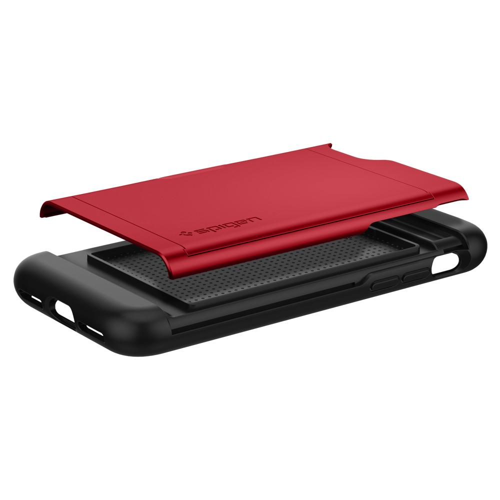 iPhone SE (2020) Case Slim Armor CS in red showing the back with card slot layer exposed