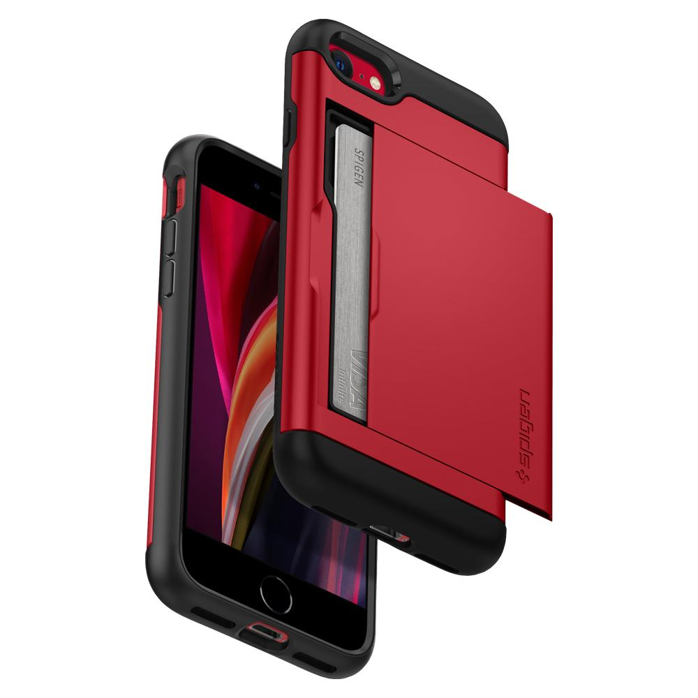 iPhone SE (2020) Case Slim Armor CS in red showing the front and back of phone from a bottom angle with card slot slightly open and card inside