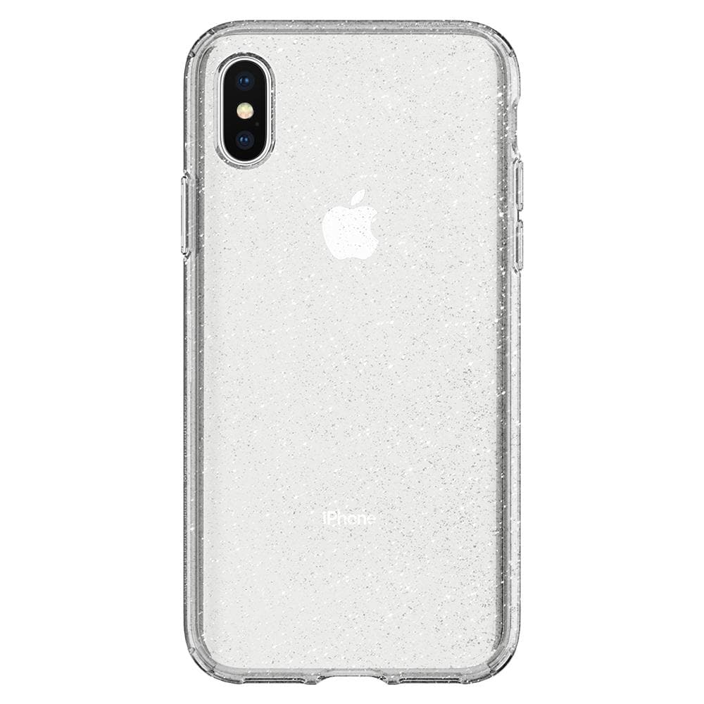 Liquid Crystal Glitter	Crystal Quartz	Case	facing backwards showing the back design with the camera cutout on the	iPhone XS/X	device.