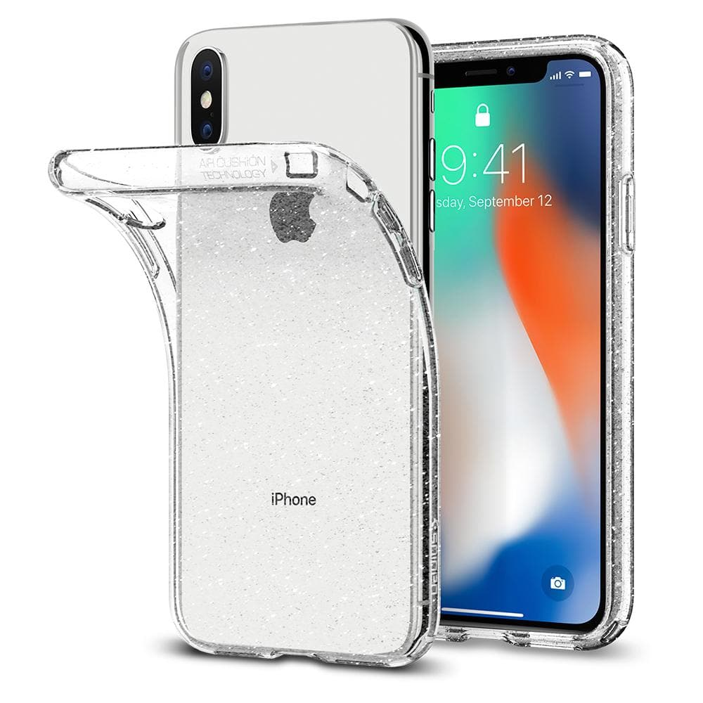Liquid Crystal Glitter	Crystal Quartz	Case	attached and bending away from the	iPhone XS/X	device.
