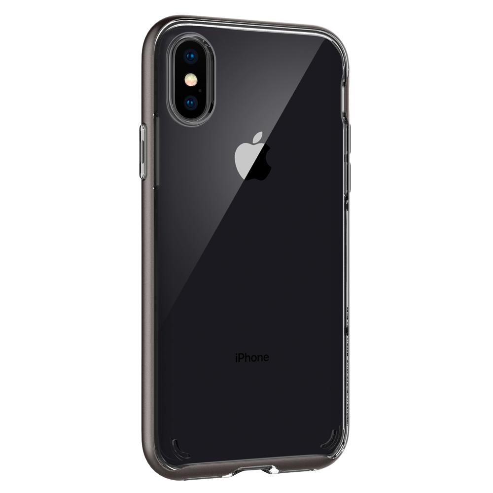 Neo Hybrid Crystal	Gunmetal	Case	facing backwards showing the back design with the camera cutout on the	iPhone XS/X	device.