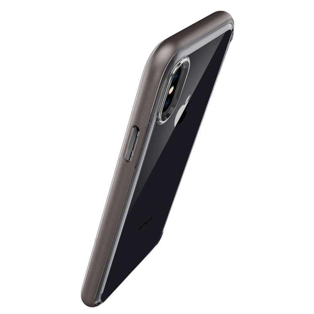 Neo Hybrid Crystal	Gunmetal	Case	showing the back design on the	iPhone XS/X	device.