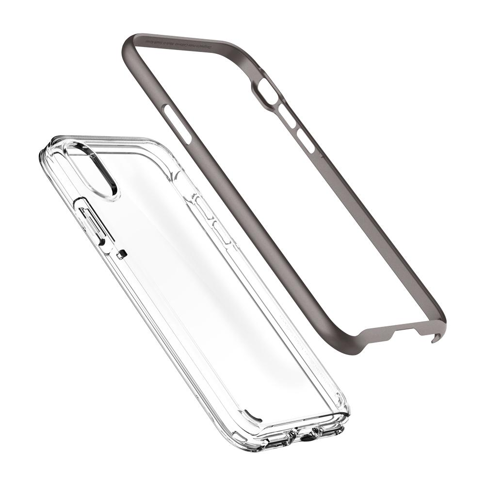 Neo Hybrid Crystal	Gunmetal	Case	separated showing the outer PC layer and the inner TPU layer