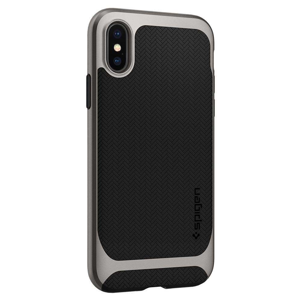 Neo Hybrid	Gunmetal	Case	facing backwards showing the back design with the camera cutout on the	iPhone X	device.
