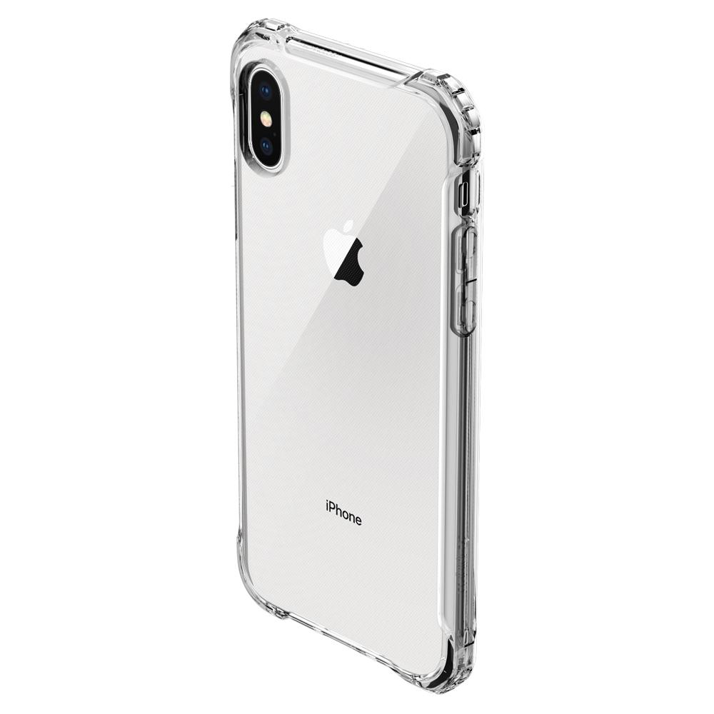 Rugged Crystal	Crystal Clear	Case	showing the back design on the	iPhone XS/X	device.