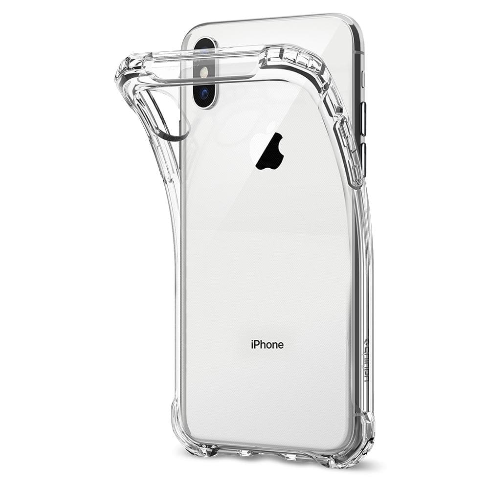 Rugged Crystal	Crystal Clear	Case	attached and bending away from the	iPhone XS/X	device.