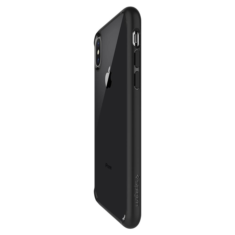 Ultra Hybrid	Matte Black	Case	showing the back design on the	iPhone X	device.