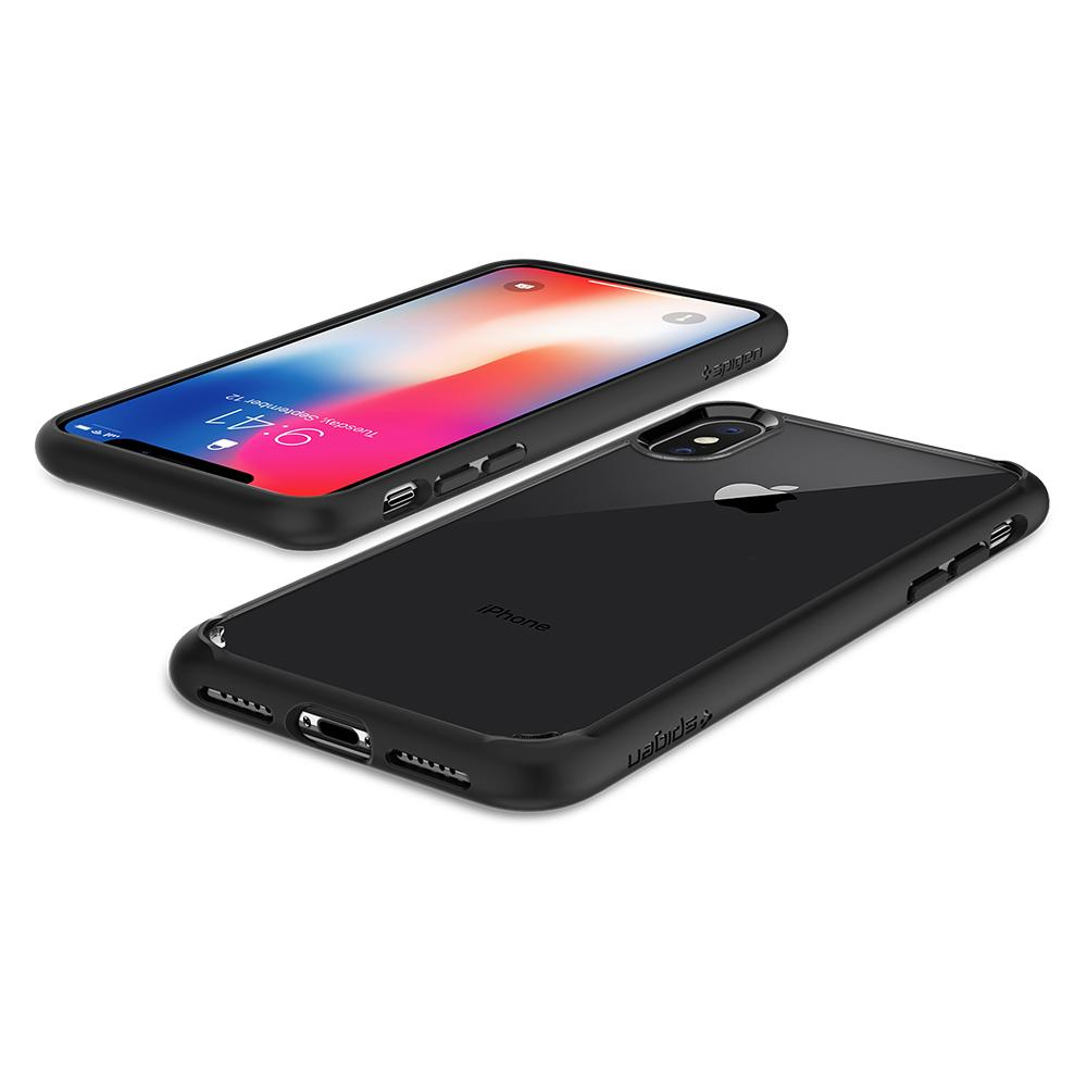 Ultra Hybrid	Matte Black	Case	back design and the front view of the	iPhone X	device.