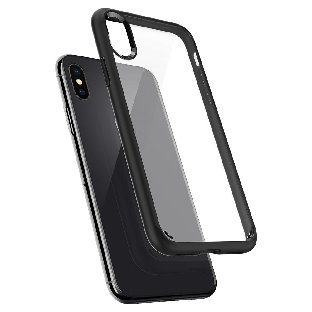 Ultra Hybrid	Matte Black	Case	back design and a back view of the	iPhone X	device.