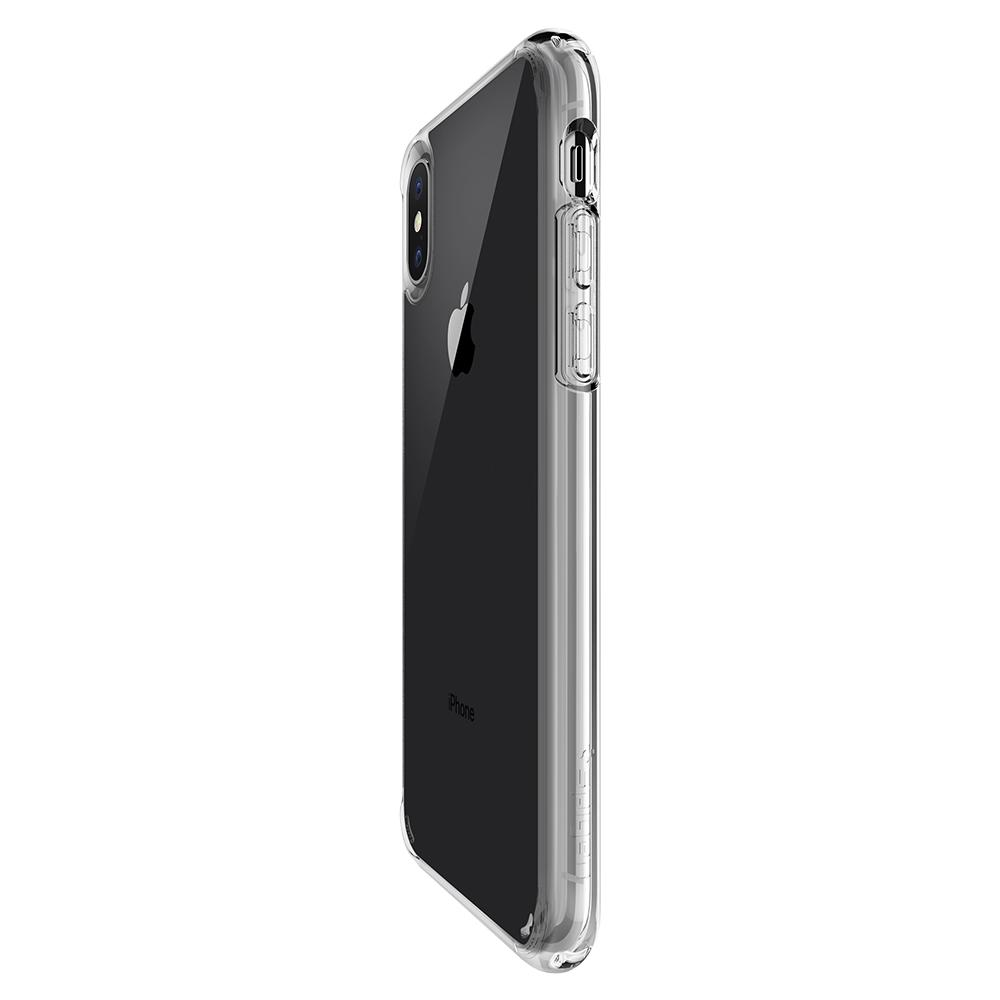 Ultra Hybrid	Crystal Clear	Case	showing the back design on the	iPhone X	device.