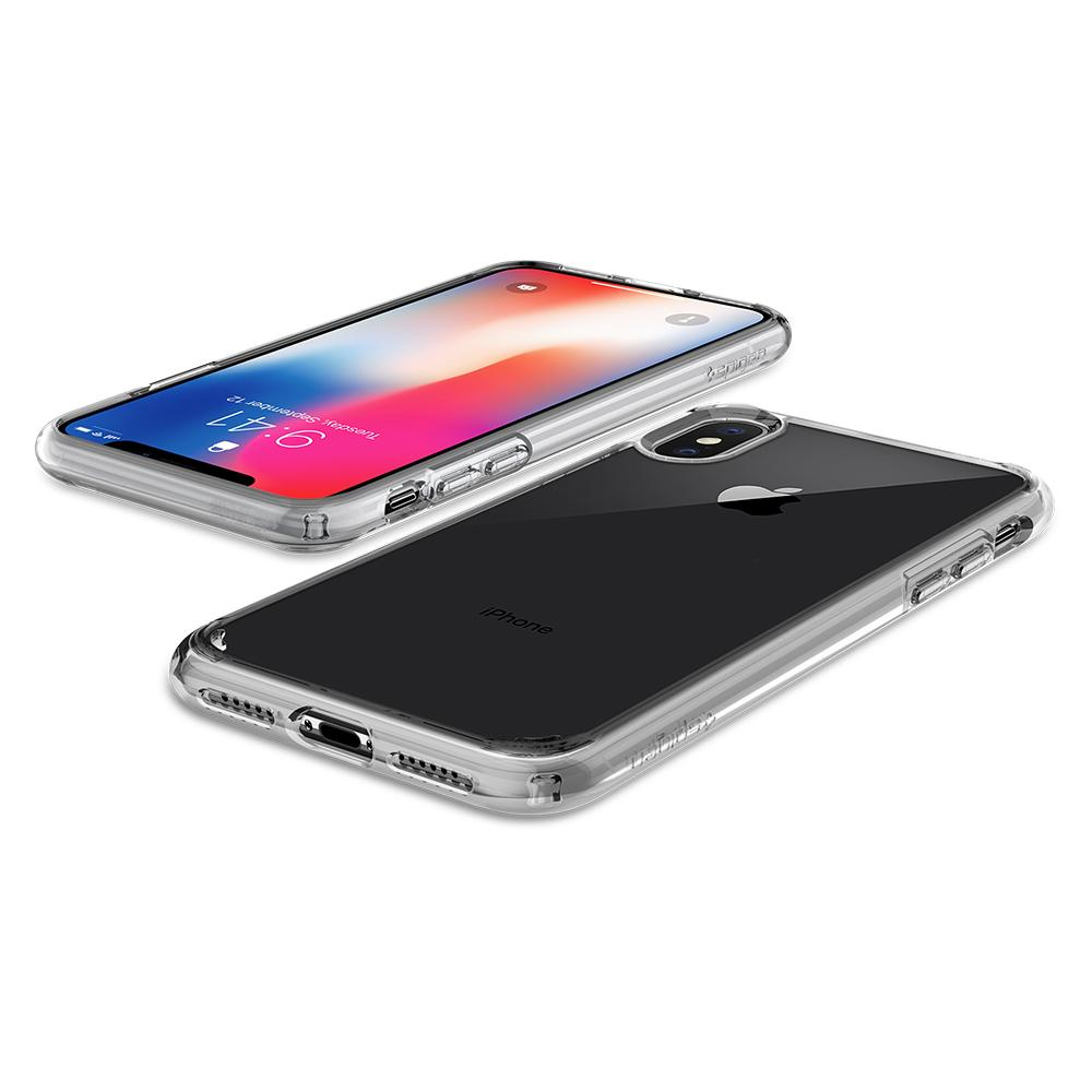 Ultra Hybrid	Crystal Clear	Case	back design and the front view of the	iPhone X	device.