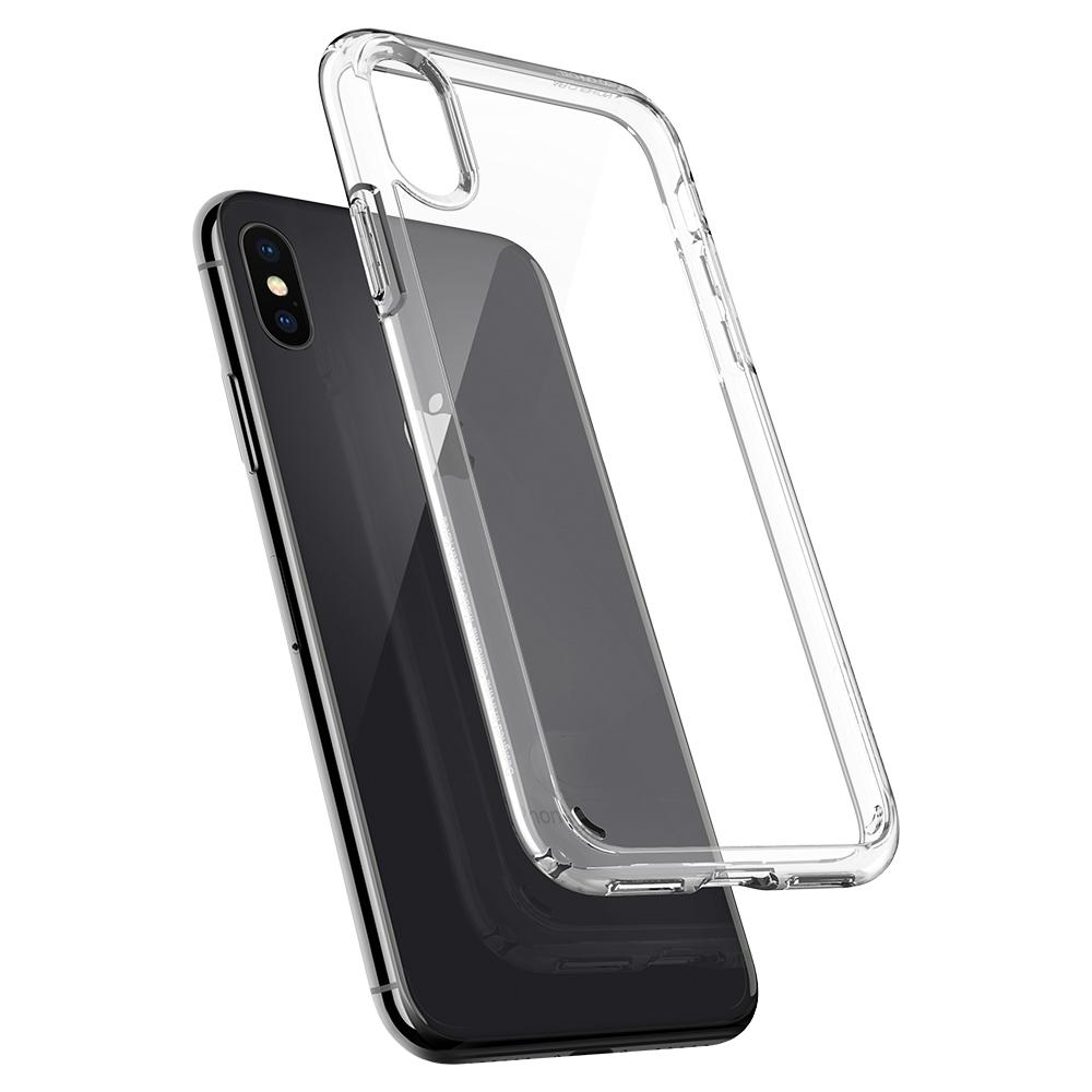 Ultra Hybrid	Crystal Clear	Case	back design and a back view of the	iPhone X	device.