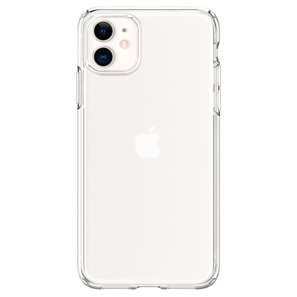 Liquid Crystal	Case	Crystal Clear	facing backwards showing the back design with the camera cutout on the	iPhone 11	device.