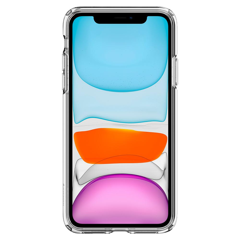 Liquid Crystal	Case	Crystal Clear	showing a front facing view of the edges around the	iPhone 11	device.