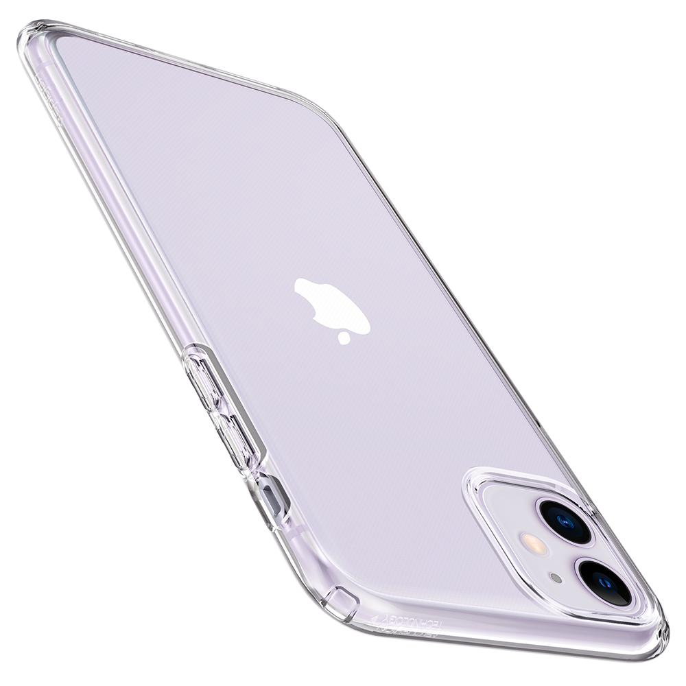 Liquid Crystal	Case	Crystal Clear	showing the back design on the	iPhone 11	device.