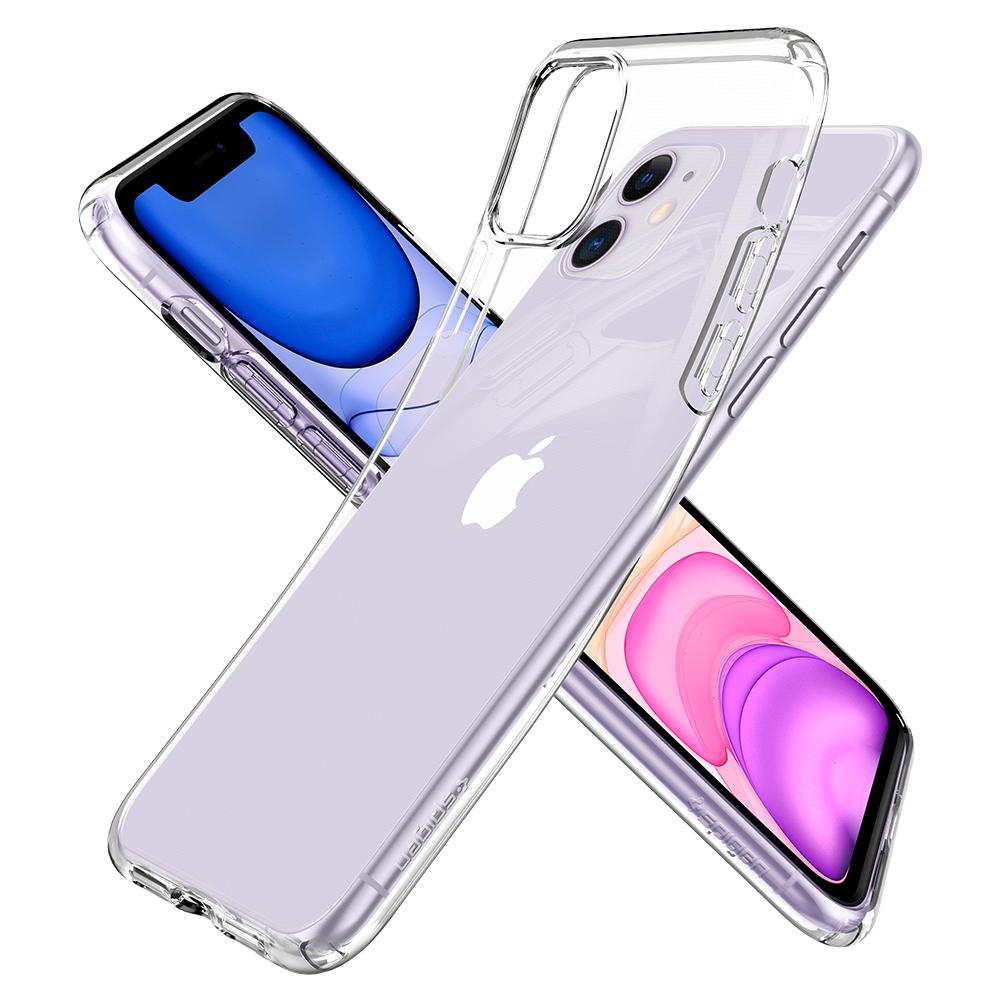 Liquid Crystal	Case	Crystal Clear	back design overlapping the front view of the	iPhone 11	device.
