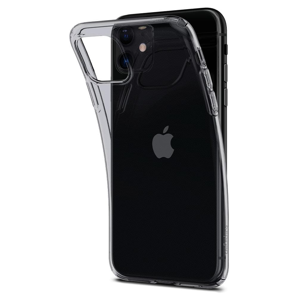 Liquid Crystal	Case	Space Crystal	attached and bending away from the	iPhone 11	device.