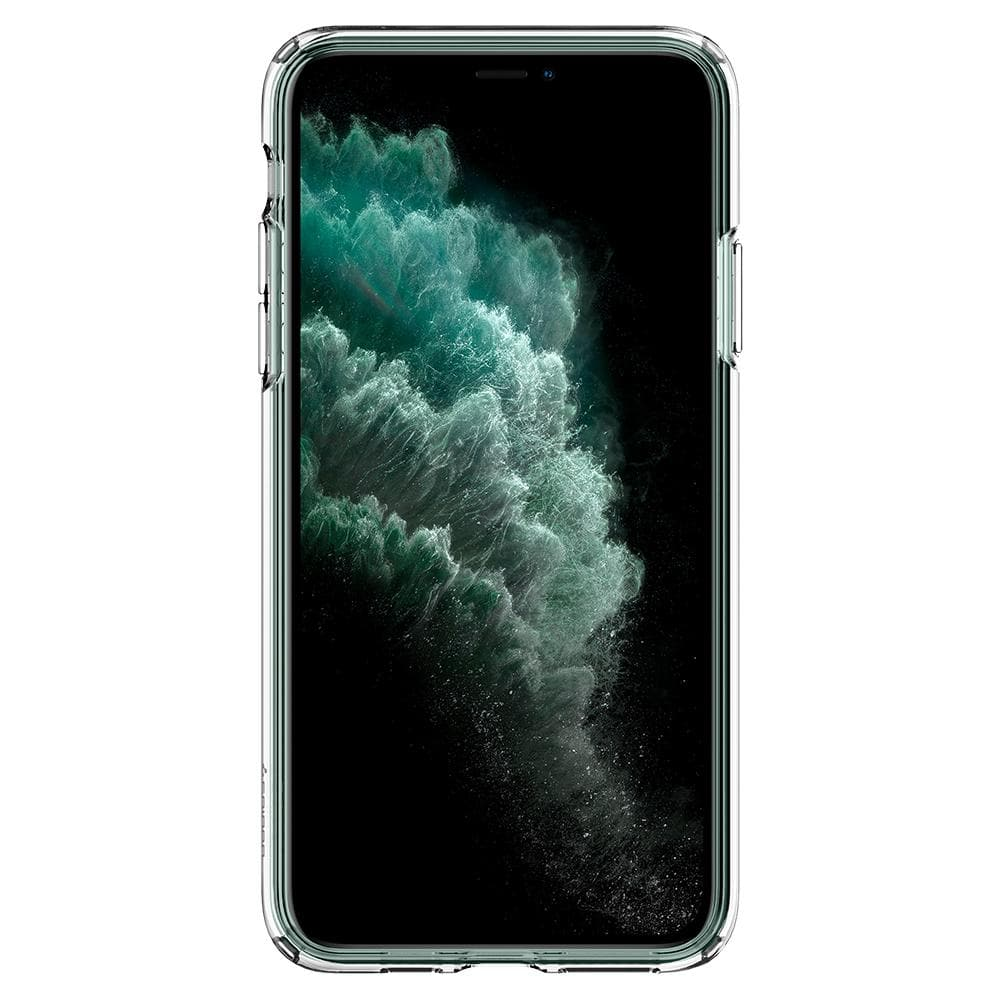 Liquid Crystal	Case	Crystal Clear	showing a front facing view of the edges around the	iPhone 11 PRO	device.