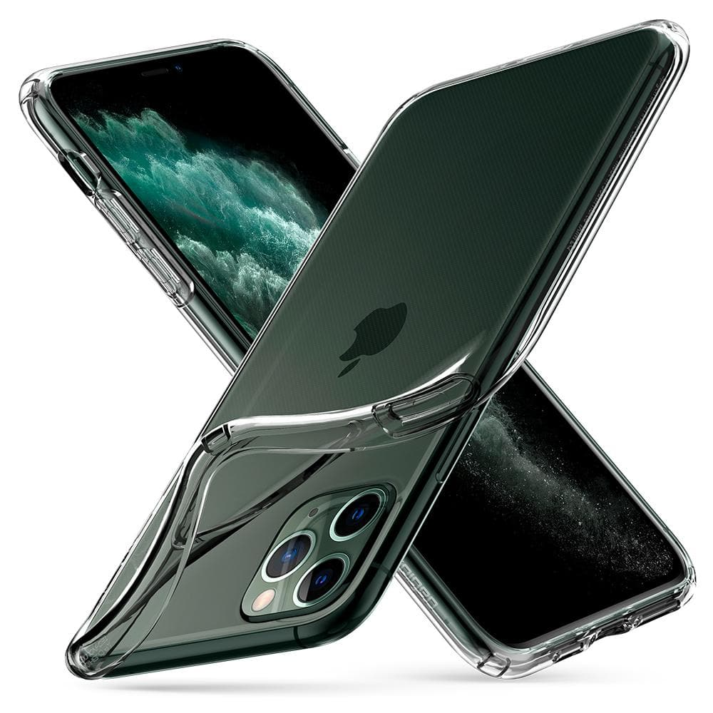 Liquid Crystal	Case	Crystal Clear	back design overlapping the front view of the	iPhone 11 PRO	device.
