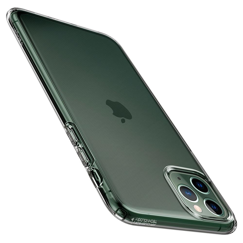 Liquid Crystal	Case	Crystal Clear	showing the back design on the	iPhone 11 PRO	device.