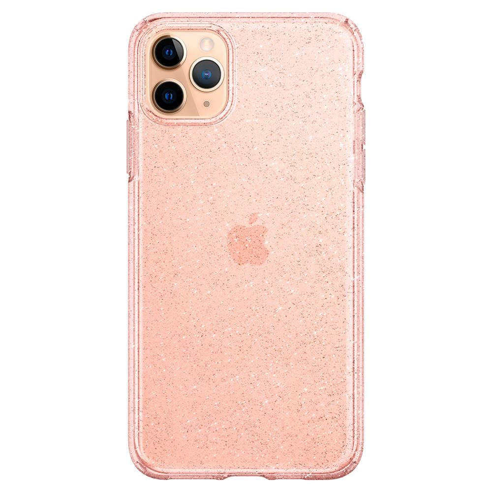 Liquid Crystal Glitter	Case	Rose Q	facing backwards showing the back design with the camera cutout on the	iPhone 11 PRO MAX	device.