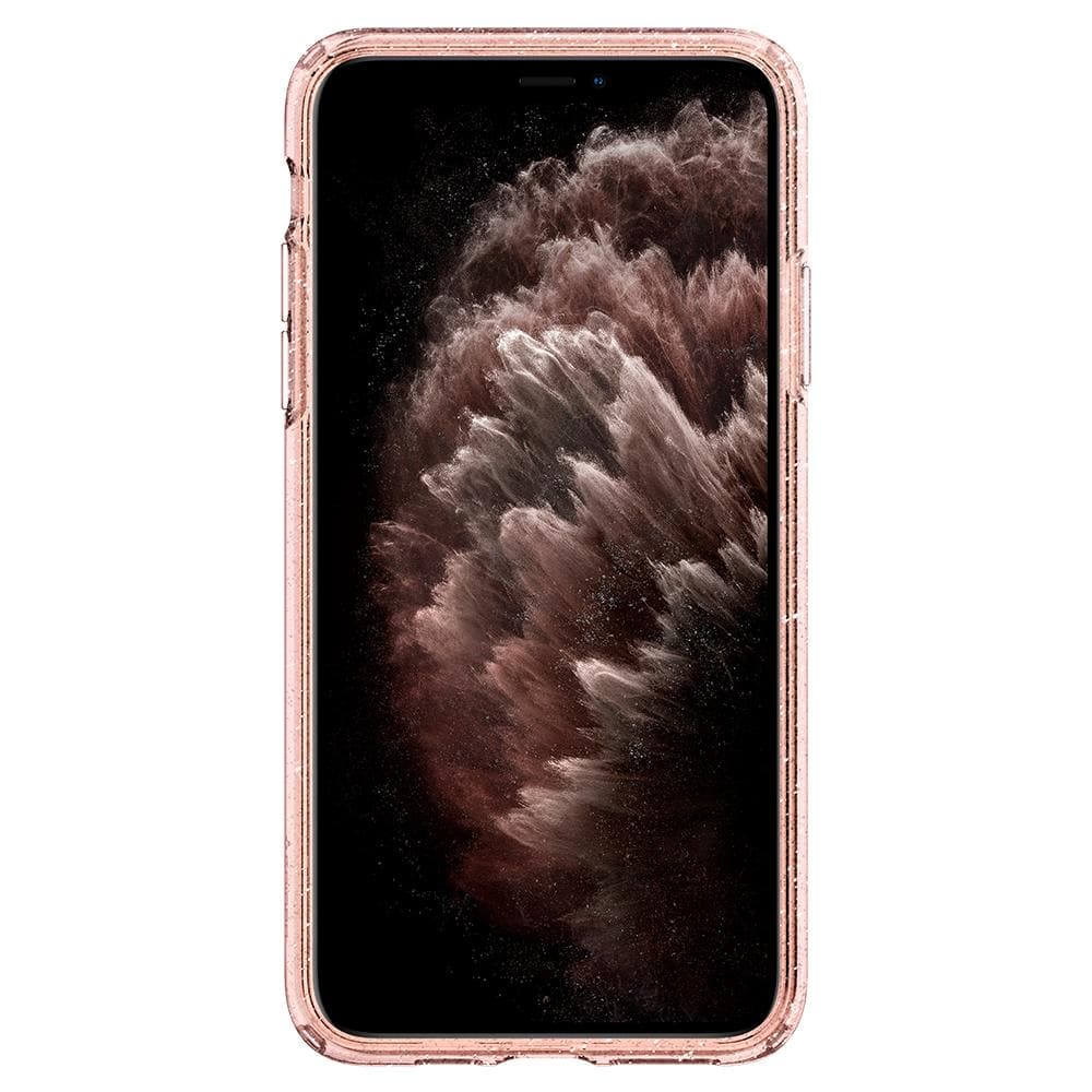 Liquid Crystal Glitter	Case	Rose Q	showing a front facing view of the edges around the	iPhone 11 PRO MAX	device.