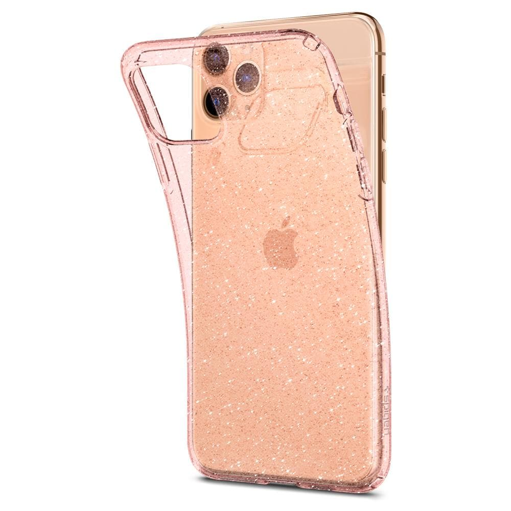Liquid Crystal Glitter	Case	Rose Q	attached and bending away from the	iPhone 11 PRO MAX	device.