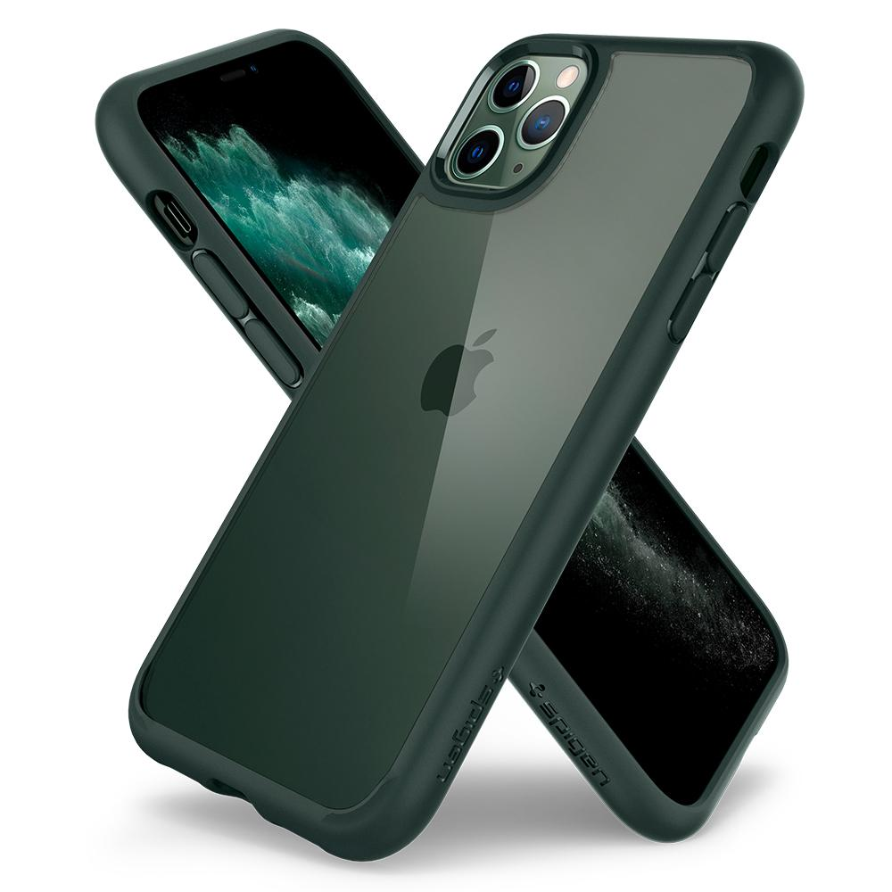 Ultra Hybrid	Case	MidnightGreen	back design overlapping the front view of the	iPhone 11 PRO MAX	device.