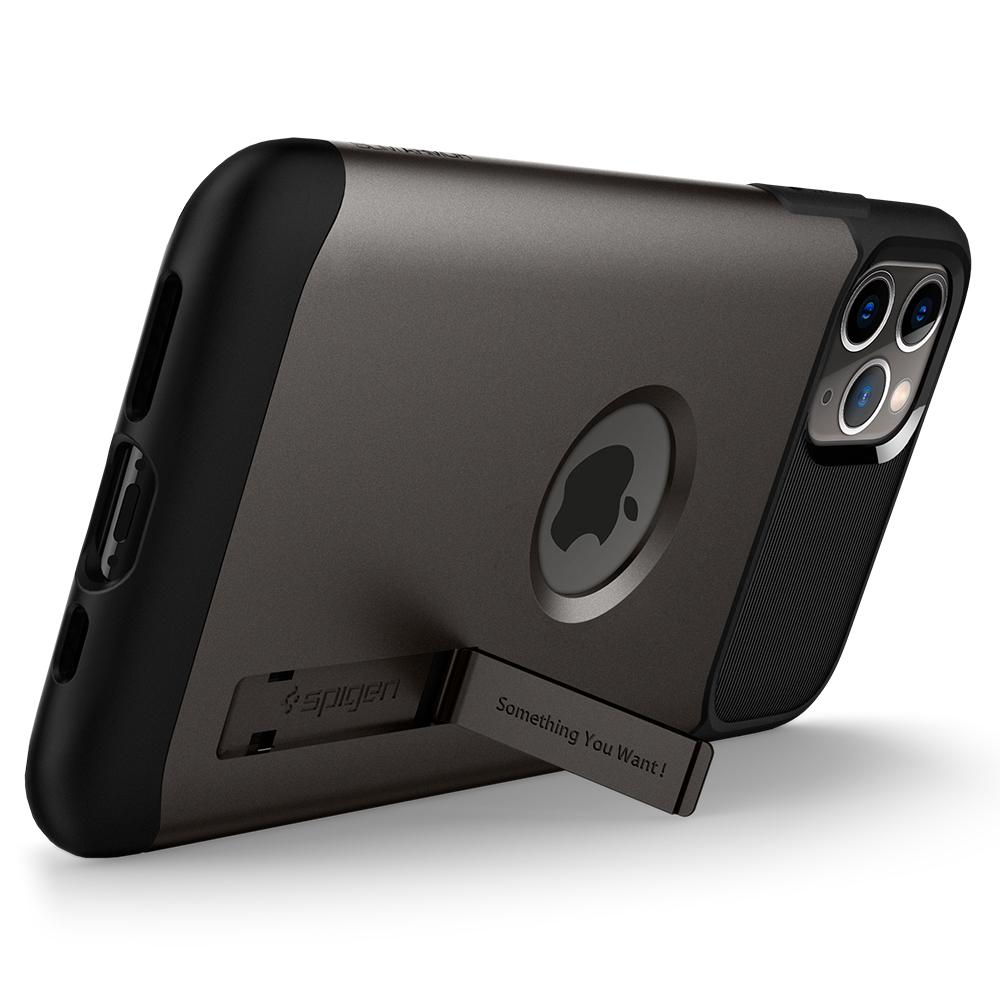 Slim Armor	Case	Gunmetal	angled backwards showing the back design focusing on the kickstand feature	iPhone 11 PRO MAX	device.