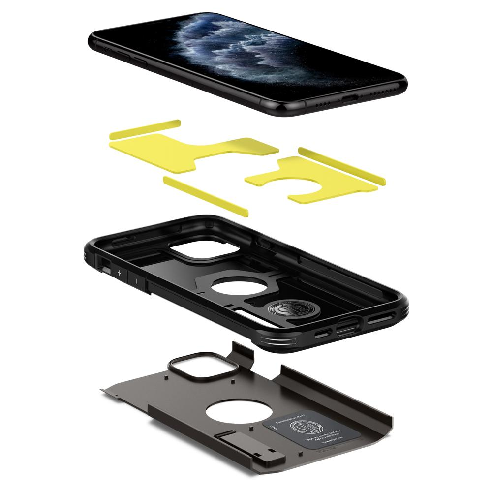 Tough Armor	Case	XP Gunmetal	separated showing the outer PC layer, the inner TPU layer, the inner yellow impact foam, and the	iPhone 11 PRO	device.