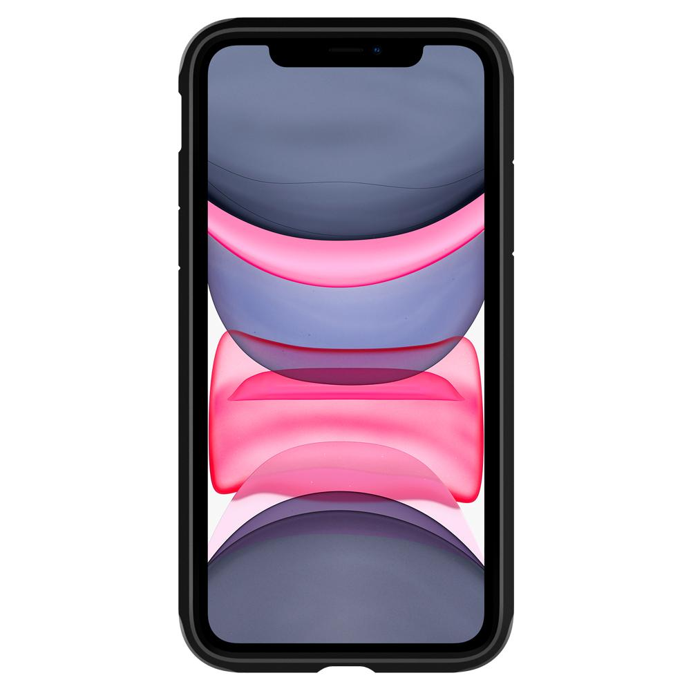 Tough Armor	Case	XP Gunmetal	showing a front facing view of the edges around the	iPhone 11	device.