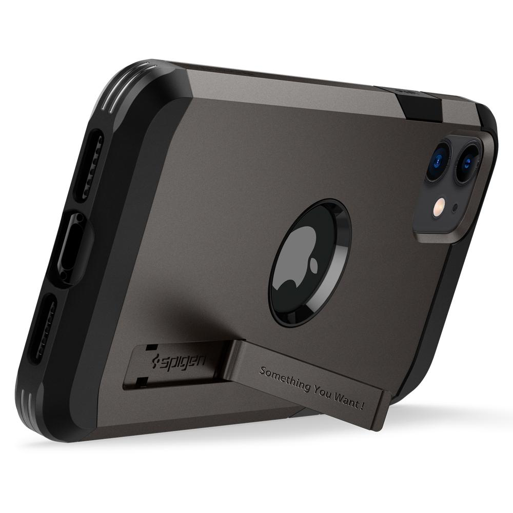 Tough Armor	Case	XP Gunmetal	angled backwards showing the back design focusing on the kickstand feature	iPhone 11	device.