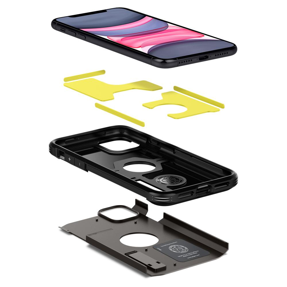 iPhone 11 Case Tough Armor in gunmetal showing the three layers: Hard PC, Flexible TPU, and Impact Foam