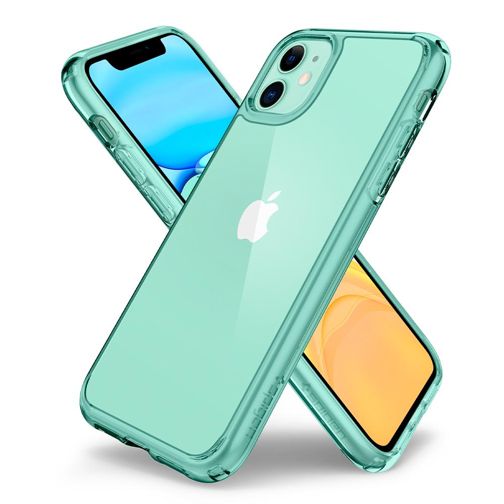 Ultra Hybrid	Case	Green Crystal	back design overlapping the front view of the	iPhone 11	device.