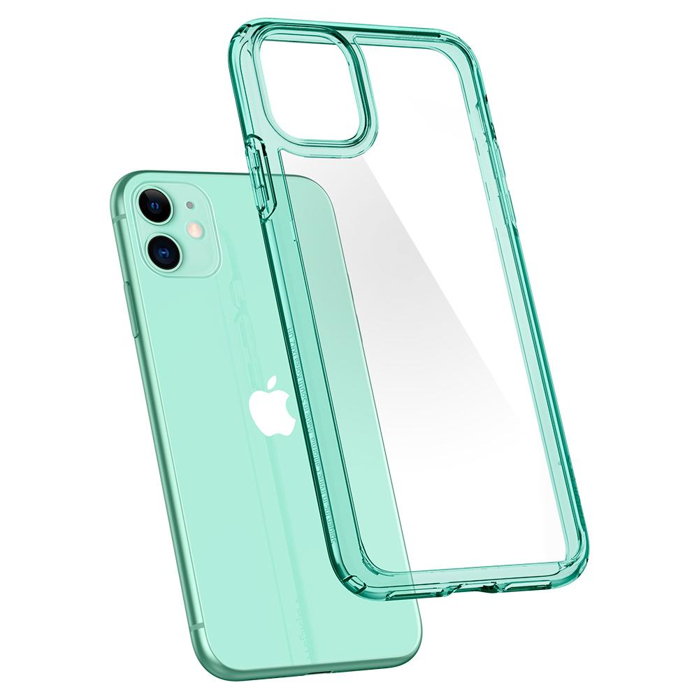 Ultra Hybrid	Case	Green Crystal	back design and a back view of the	iPhone 11	device.