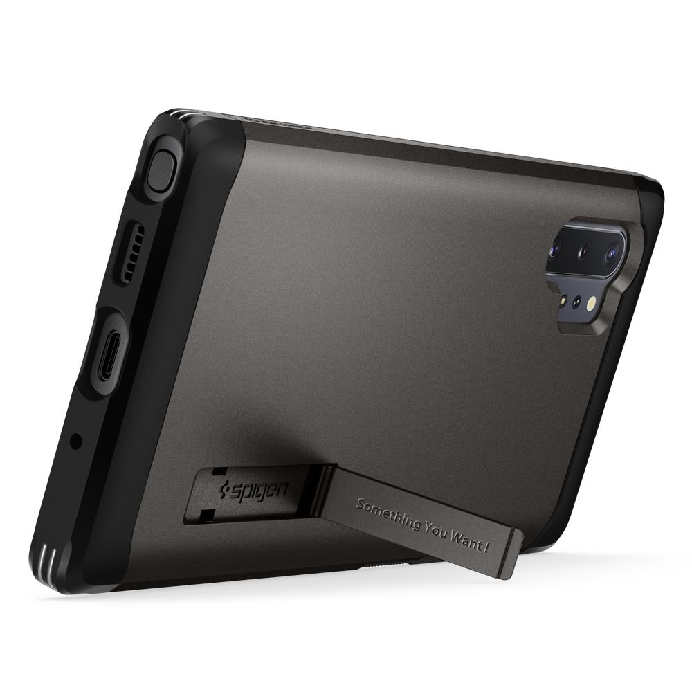 Galaxy Note 10 Plus / 10 Plus 5G Case Tough Armor in gunmetal showing the back propped up horizontally with use of kickstand