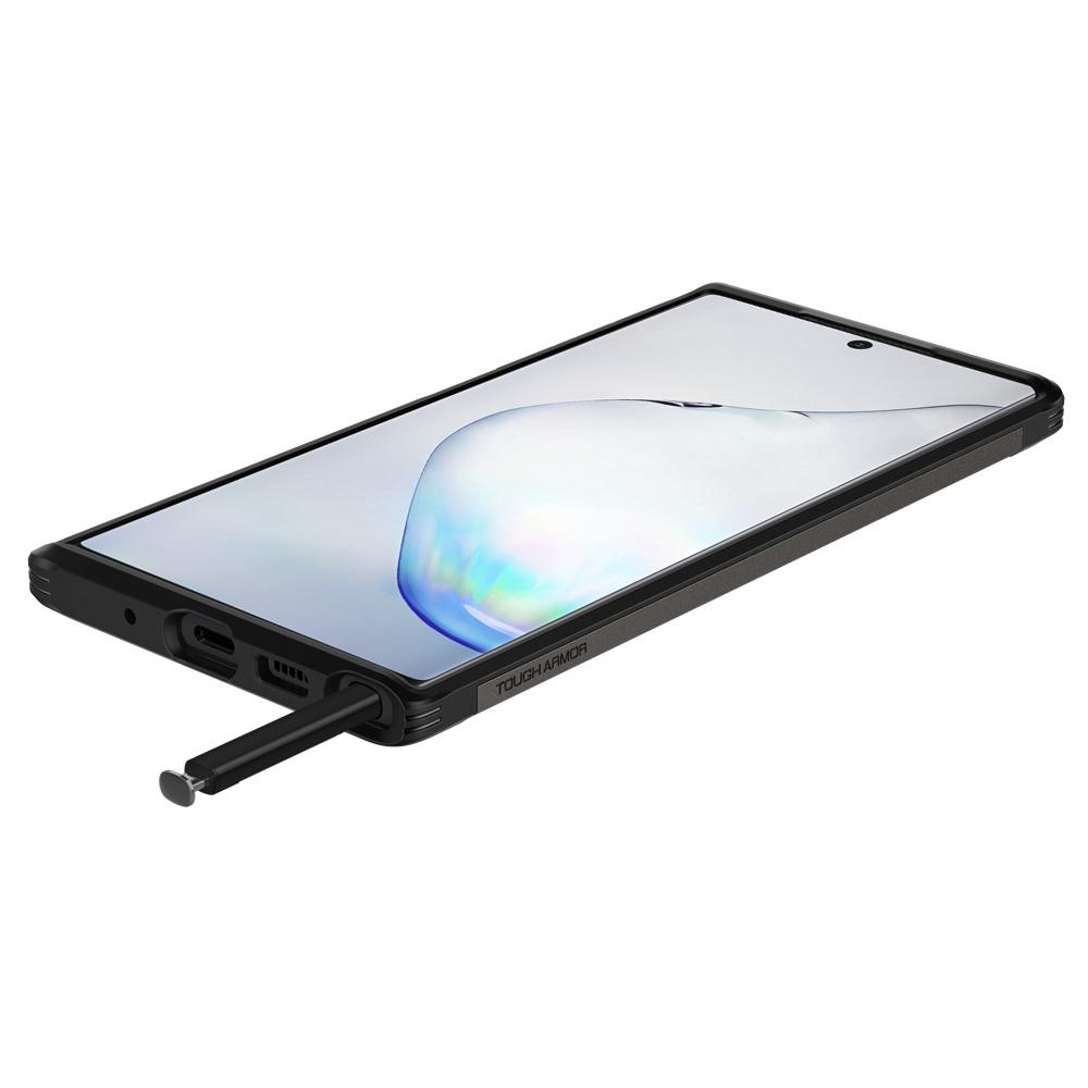 Galaxy Note 10 Plus / 10 Plus 5G Case Tough Armor in gunmetal showing the front, side, and bottom with stylus pen sticking out halfway of pen slot