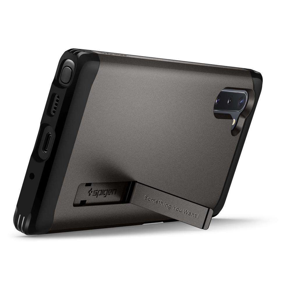 Galaxy Note 10 Case Tough Armor in gunmetal showing the back with device standing horizontally with kickstand