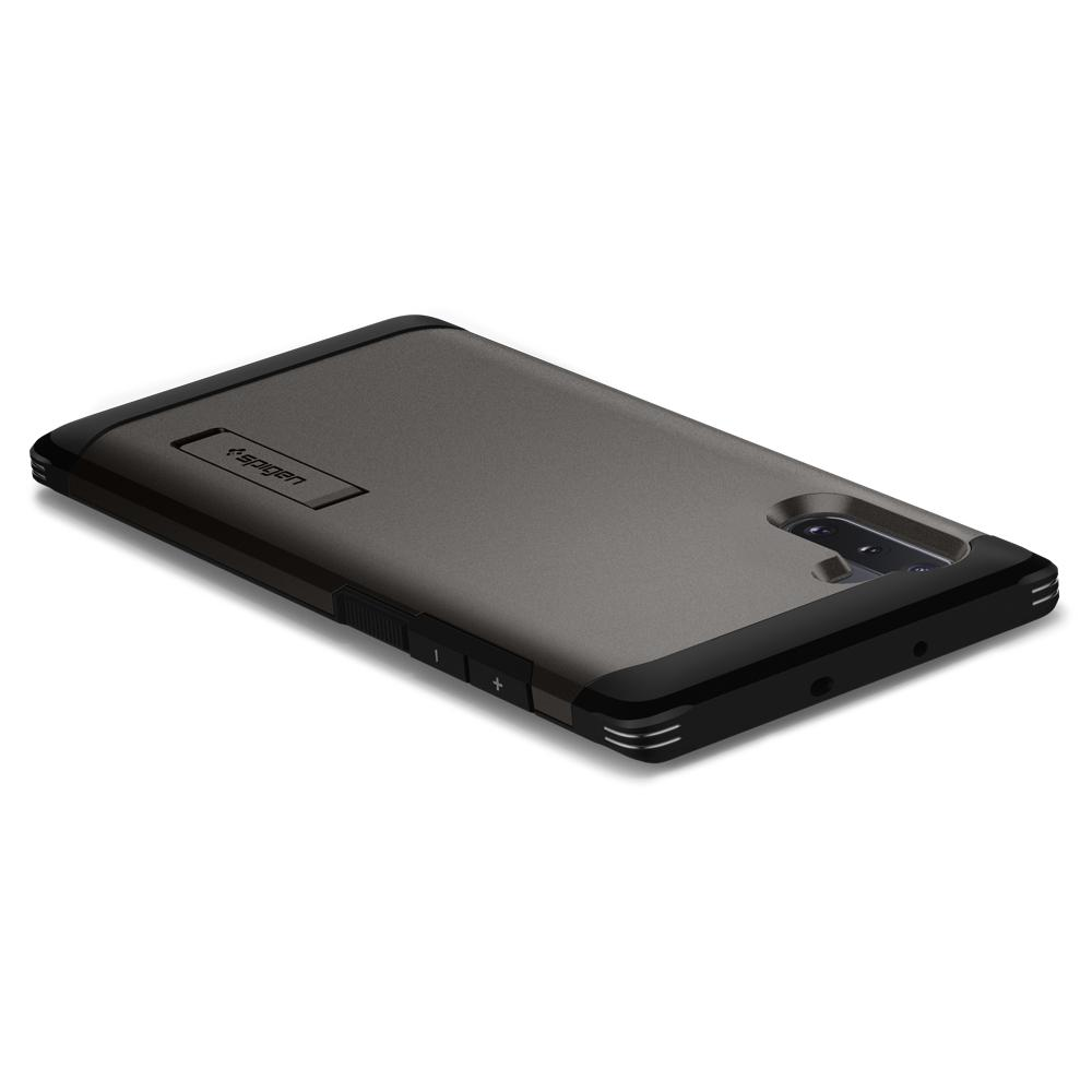 Galaxy Note 10 Case Tough Armor in gunmetal showing the back, top and side laying on flat surface