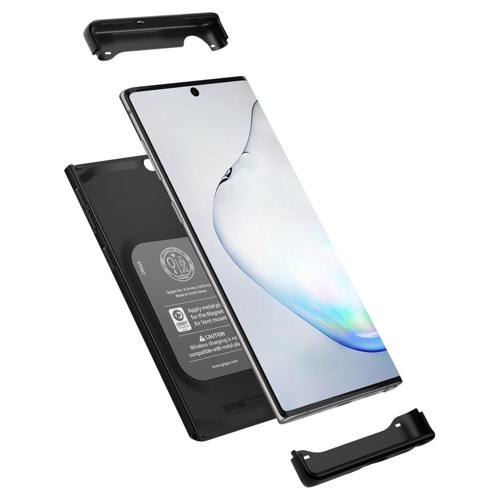 Galaxy Note 10 Case Thin Fit Classic in black showing the top, bottom, and back layers