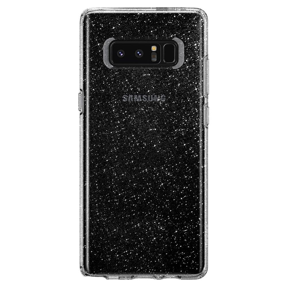Liquid Crystal Glitter	Crystal Quartz	Case	facing backwards showing the back design with the camera cutout on the	Galaxy Note 8	device.