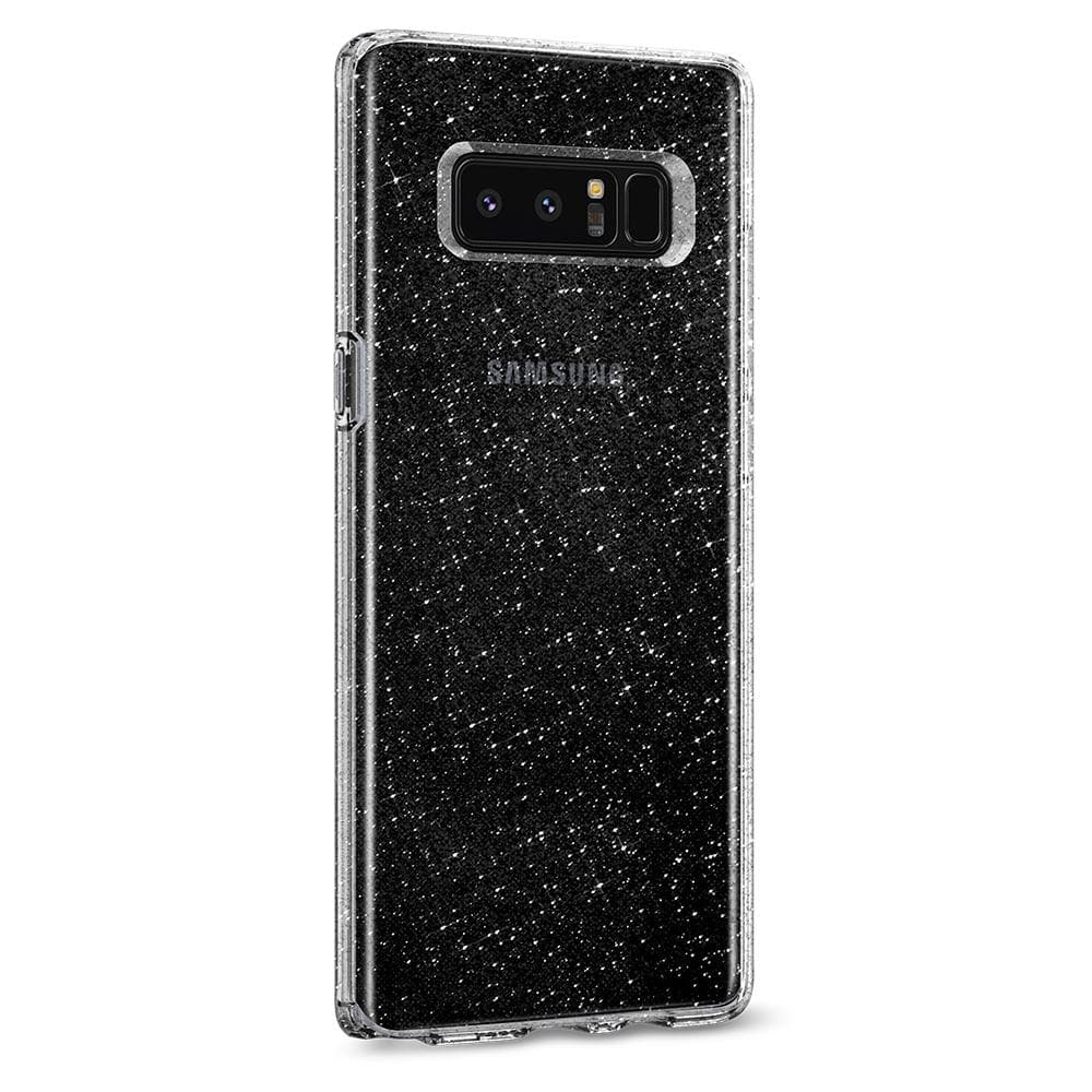 Galaxy Note 8 Case Liquid Crystal Glitter showing the back and partial power side