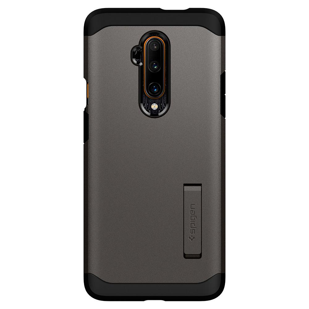 Tough Armor	Gunmetal	Case	facing backwards showing the back design with the camera cutout on the	OnePlus 7T Pro	device.