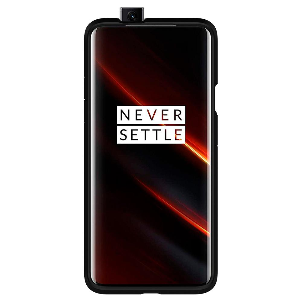 Tough Armor	Gunmetal	Case	showing a front facing view of the edges around the	OnePlus 7T Pro	device.